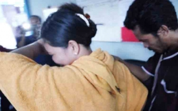 Junaidi dan istrinya Armaiya saat dibawa ke kantor BNN Kota Palangka Raya
