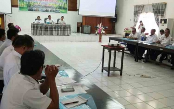 Kegiatan Workshop Evaluasi Pelayanan Sosial Dasar di aula kantor Badan Perencanaan Penelitian dan Pengembangan Daerah (BP3D) Kabupaten Gumas, Rabu (6/12/2017).