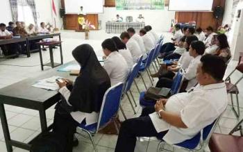 Kegiatan Workshop Evaluasi Pelayanan Sosial Dasar di aula kantor BP3D Kabupaten Gumas, Rabu (6/12/2017).