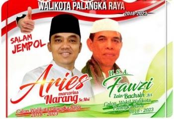 Poster Aries M Narang dan HSA Fauzi sebagai calon wali kota dan wakil wali kota Palangka Raya periode 2018-2023 mulai bermunculan di media sosial.