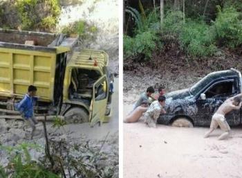 Jalan menuju lima desa di Kecamatan Dusun Utara, Kabupaten Barito Selatan, rusak parah.