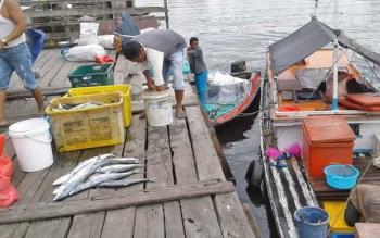 Nelayan Kecamatan Kuala Jelai saat membawa hasil tangkapan ke Pelabuhan Padang Kecamatan Sukamara.