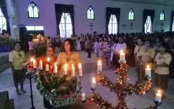 Perayaan Natal Seksi Pelayanan Perempuan Jemaat GKE Kuala Kurun di Gereja Estomihi, Selasa (12/12/2017).