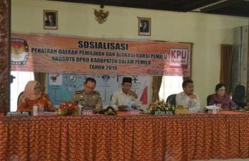 KPU Kabupaten Barito Selatan menyosialisasikan penatan dapil dan alokasi kursi untuk pemilu 2019, Rabu (13/12/2017).