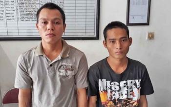 Priyadi alias Ajen dan Tudis alias Udi tersangka kasus penganiayaan.