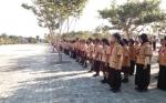 Anggota Pramuka Mandi Keringat Saat Upacara Peringati Hari Jadi