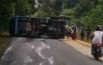 Bus BNNK Kobar Terguling di Dekat Kantor Orangutan Care Center Quarantine
