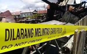 Lokasi Pasca Kebakaran Rumah Penduduk di Mendawai Dipasang Garis Polisi