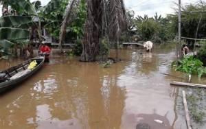 Intensitas Hujan Tinggi, Desa Kalahien Mulai Terendam Banjir