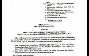 Bupati Kapuas Terbitkan Surat Edaran Terkait Penjualan dan Pembelian Bahan Pokok
