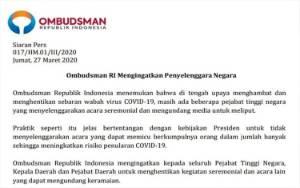 Ombudsman Ingatkan Kepala Daerah Tidak Undang Media Meliput