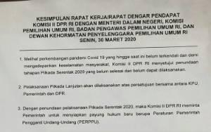 Komisi II DPR Setuju Penundaan Tahapan Pilkada 2020, Pemerintah Diminta Siapkan Perppu