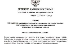 Gubernur Kalteng Surati Bupati dan Wali Kota Instruksikan Salat Idul Fitri di Rumah