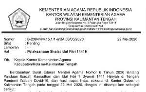Ini Surat Edaran Kementerian Agama Tentang Panduan Ibadah Ramadan dan Idul Fitri 1 Syawal 1441 Hijriyah di Kalimantan Tengah