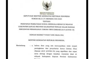 Menteri Kesehatan Setujui Kabupaten Kapuas Terapkan PSBB