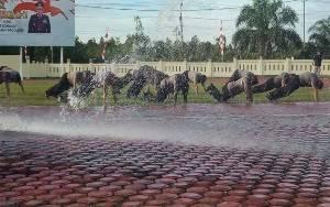 15 Polisi Naik Pangkat Disiram Air dari Mobil Water Cannon