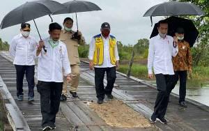 Meskipun Hujan Presiden Tetap Semangat Bahas Food Estate di Sebuah Gubuk