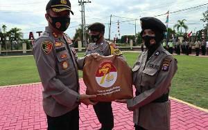 Polres Kapuas Gelar Apel Pendistribusian Sembako Jelang Hari Jadi ke-72 Polwan