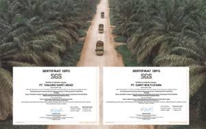 Dua Unit Bisnis PT Sawit Sumbermas Sarana Tbk. Terima Sertifikat ISPO