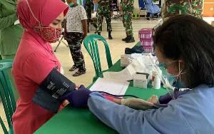 Wujud Sinergitas, Bhayangkari Kobar Ikut Donor Darah Sambut HUT TNI ke 75