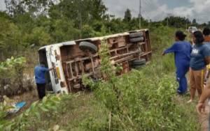 Bus Damri Terguling di Pangkut, Ini Dugaan Penyebabnya