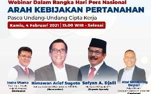 Webinar HPN 2021, Kementerian ATR/BPN akan Sosialisasikan Arah Kebijakan Pertanahan Pasca UU Cipta Kerja