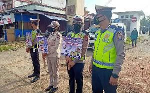 Satlantas Polres Bartim Selingi Gatur dengan Kampanye Protokol Kesehatan