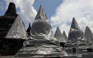 BKB Pertahankan Sementara Penutup Stupa Candi Borobudur