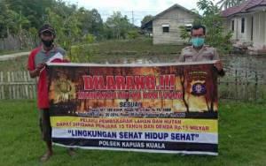 Sambangi Warga, Personel Polsek Kapuas Kuala Ingatkan Warga Cegah Karhutla