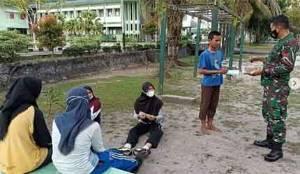 Anggota Korem 102 Panju Panjung Imbau Selalu Patuhi Protokol Kesehatan