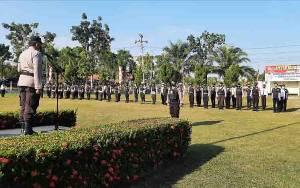 Polres Sukamara Laksanakan Apel Gelar Pasukan Pengamaman Pilkades Serentak