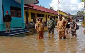 Wakil Bupati Katingan Tinjau Lokasi Banjir dan Serahkan Bantuan Sembako