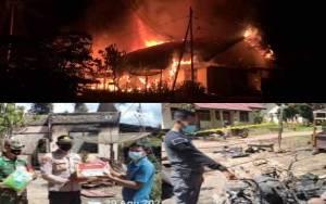 2 Rumah Warga Pangkut Terbakar, Hanguskan 4 Motor dan 1 Mobil